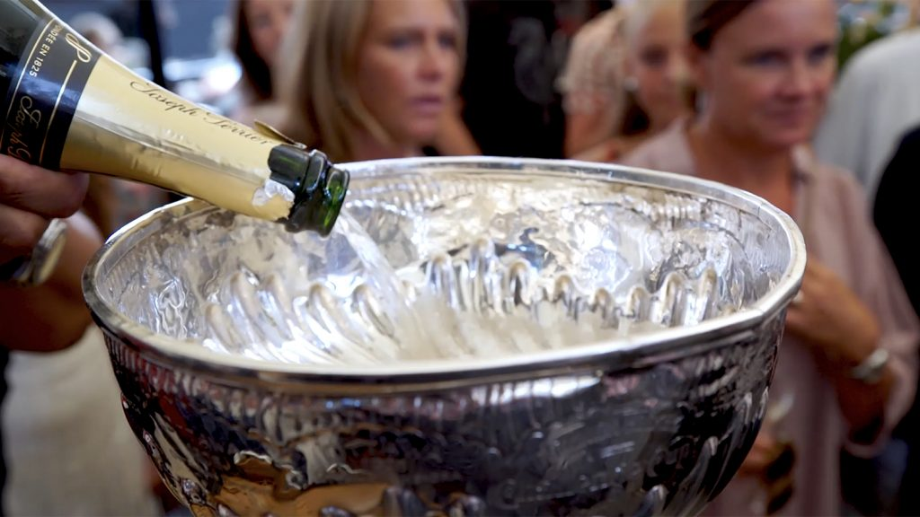 champagne being poured into the Stanley Cup
