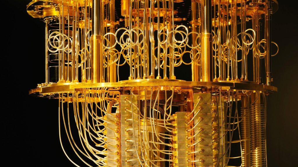 Refrigeration coils keep the quantum computer at sub zero temperatures.