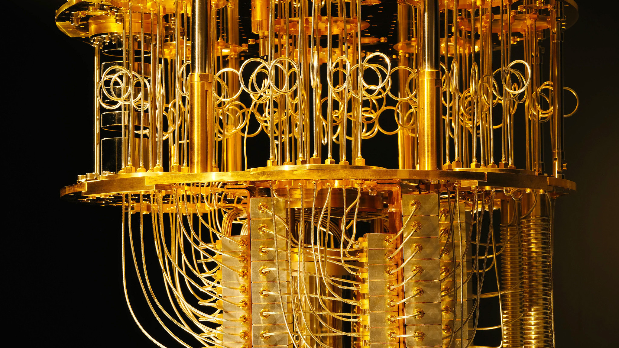 Refrigeration coils keep the quantum computer at sub zero temperatures.