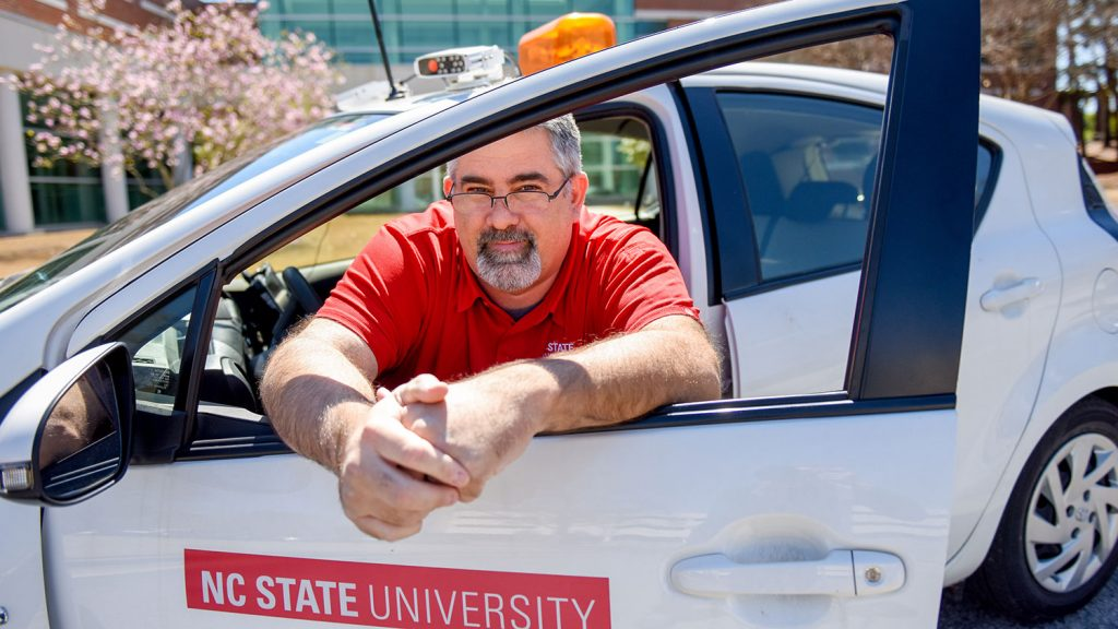 NC State Transportation Officer Matt Heater in his vehicle