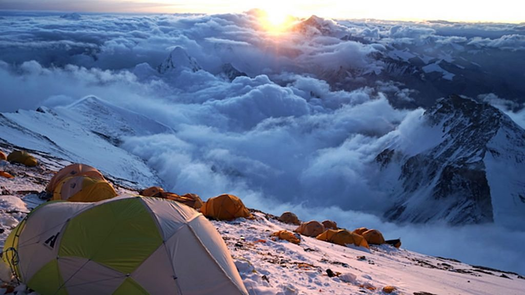 View of sunrise from near the summit of Mount Everest.