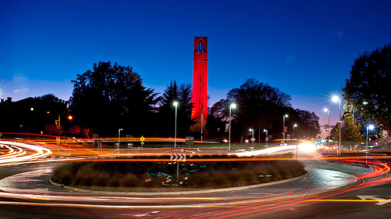 image of the belltower lit red