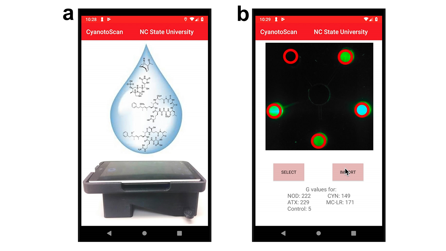 Two smartphone screens displaying the cyanotoxin sensor interface