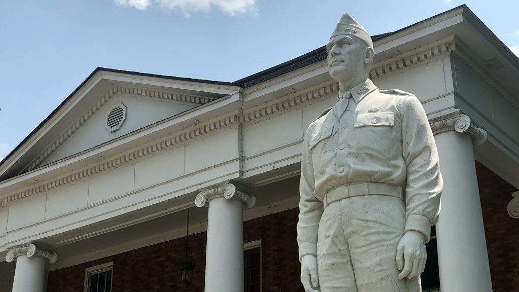Statue of Gen. William Lee in front of his family home.