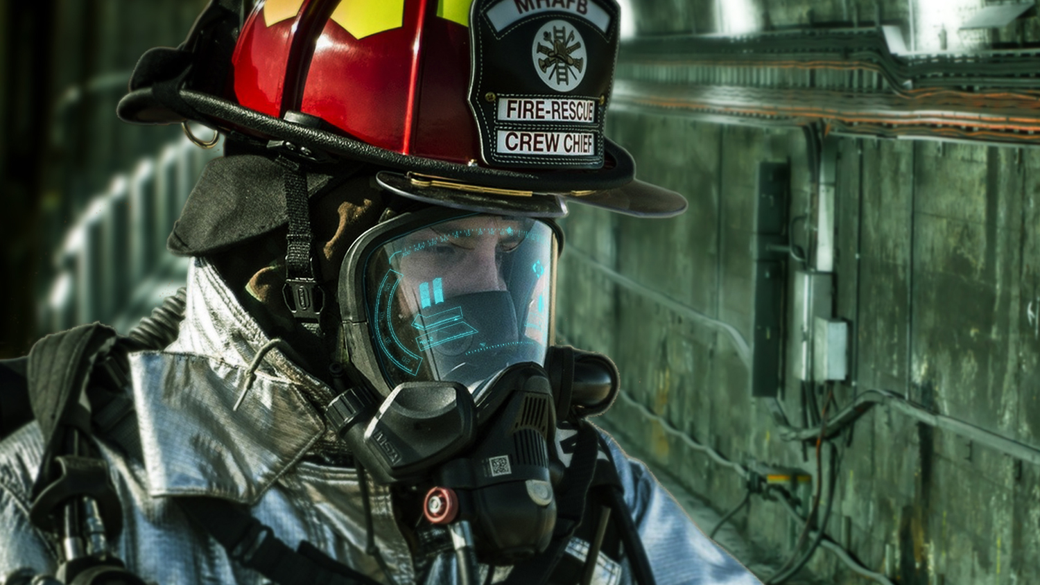 firefighter with streaming data on facemask