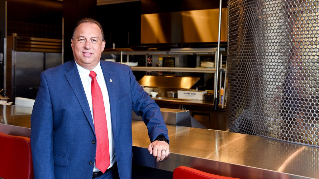 Randy Lait, senior director of administrative services for Campus Enterprises, at NC State's 1887 restaurant.