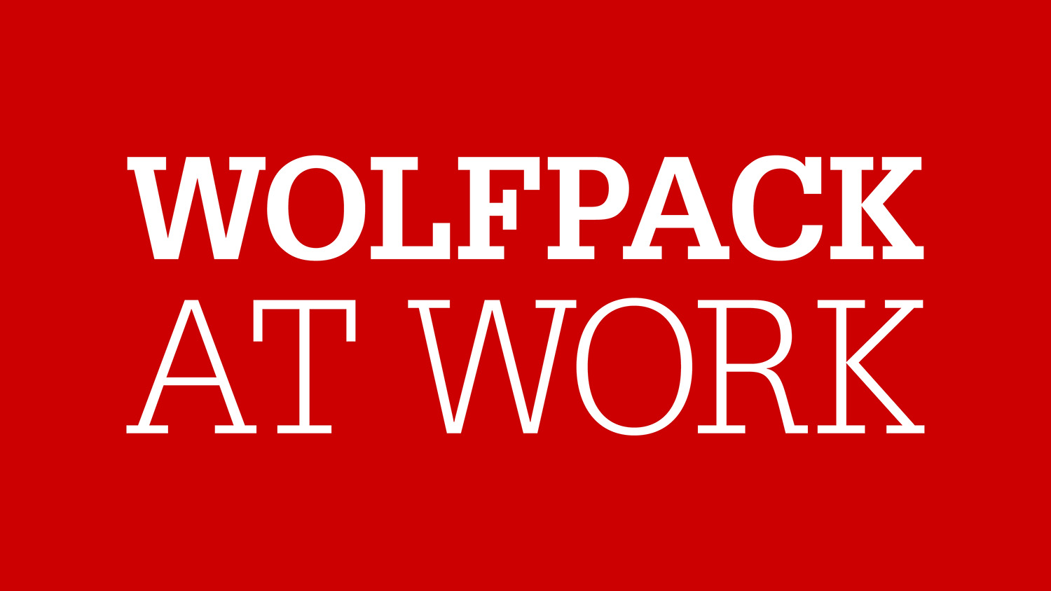 Logo that says Wolfpack at Work on a red background.