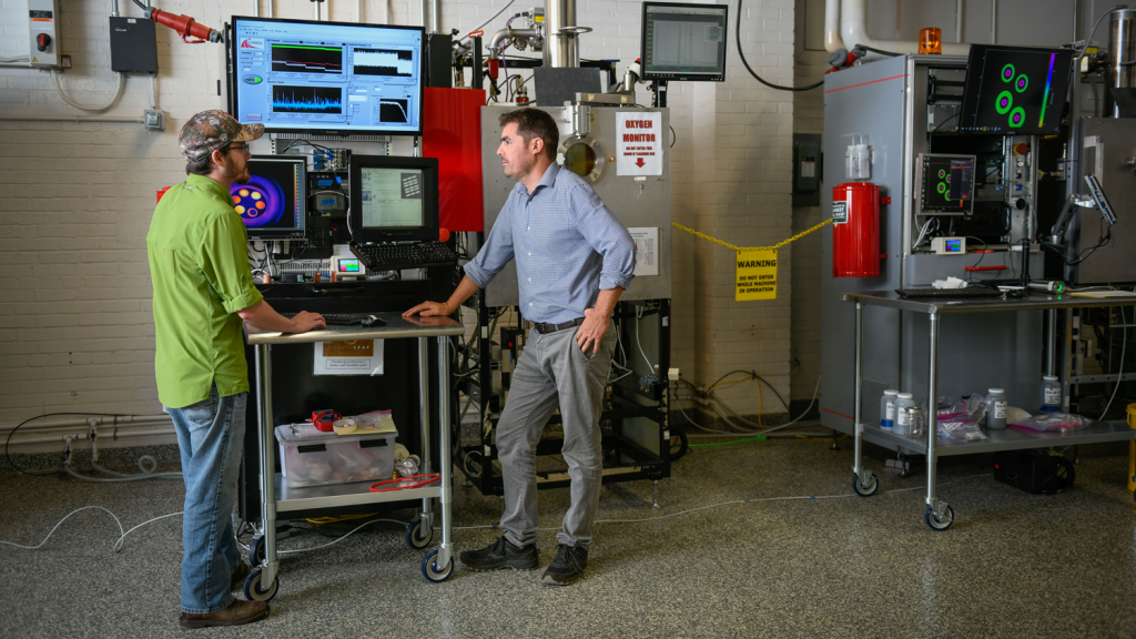 Tim Horn and Christopher Ledford in NC State's Center for Additive Manufacturing and Logistics