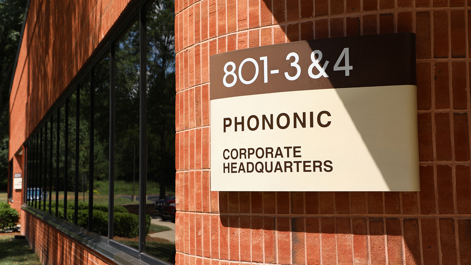 "A sign that says ""Phononic Corporate Headquarters"" outside of the startup's office in RTP."
