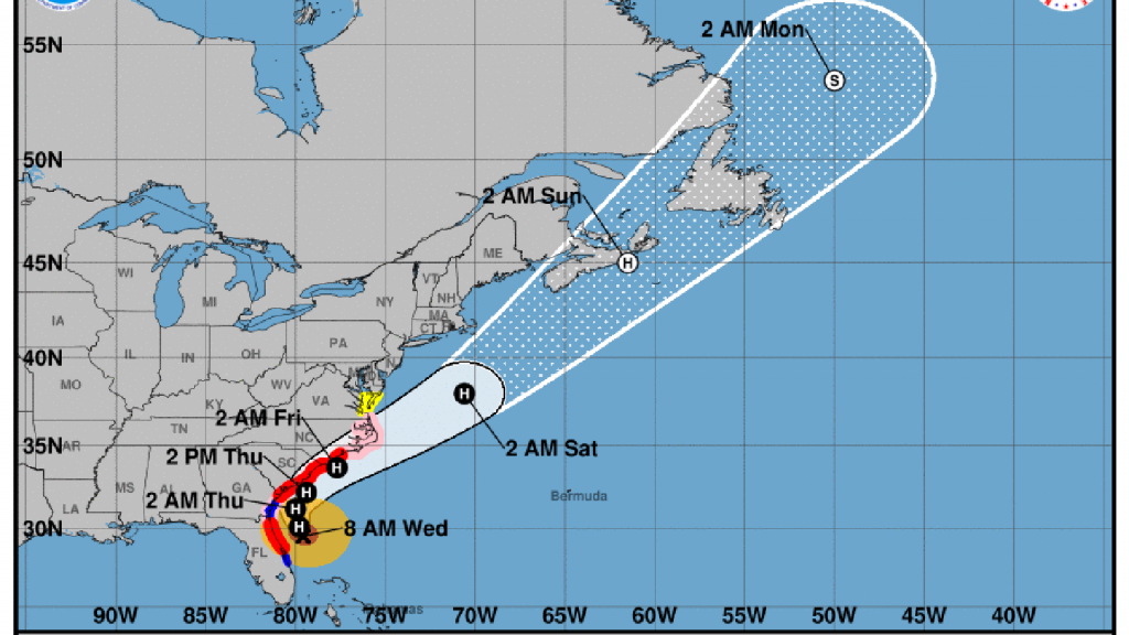 Map of Hurricane Dorian's projected path.