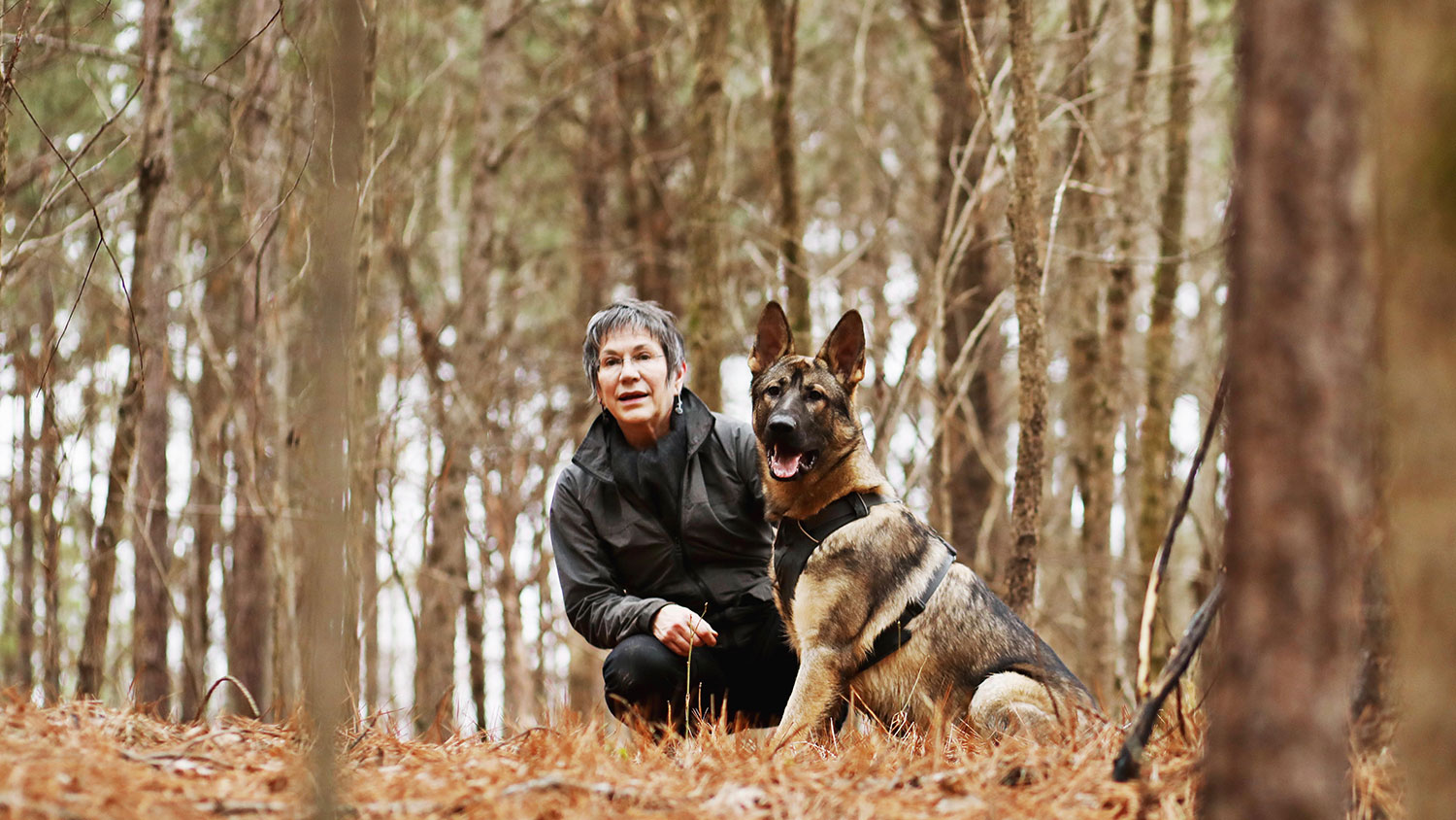 woman crouching down beside a seated German shepherd dog in the woods