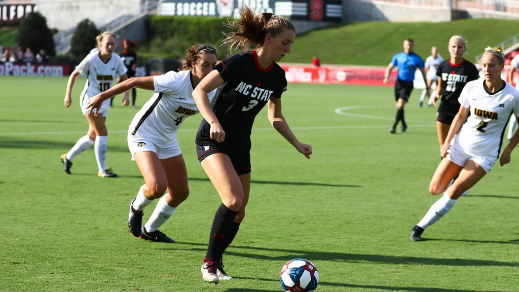 NC State women's soccer player Jaylynn Nash gets ready to kick the ball during a game