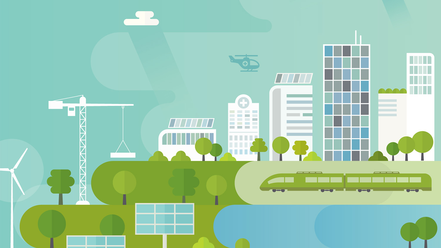 An illustration depicts a city putting green energy to work.