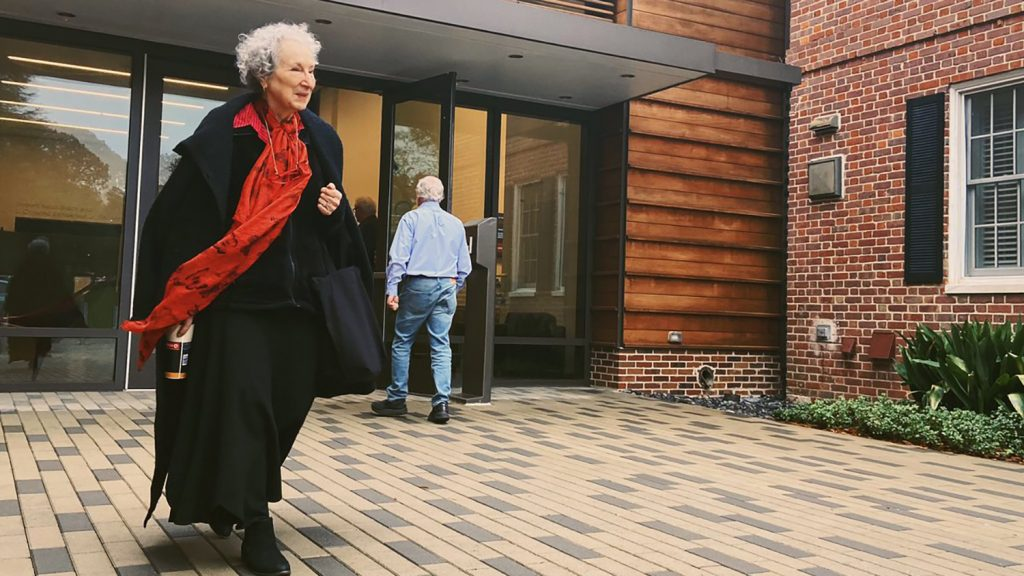 Margaret Atwood seen exiting the Gregg Museum.