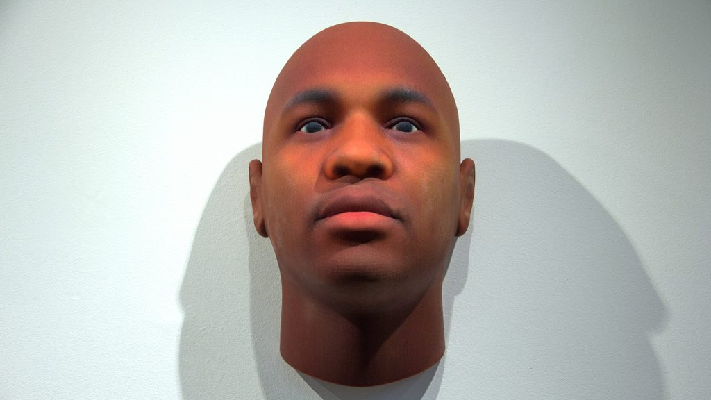 An image of a 3D printed mugshot from the Gregg exhibit.