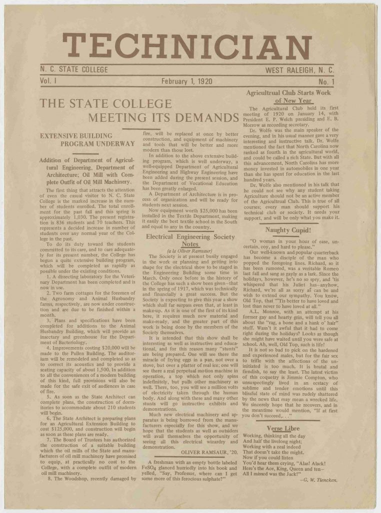 Page 1 of the first issue of Technician, NC State's student newspaper.