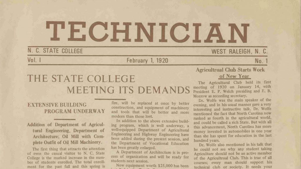 Top of the front page of the first issue of Technician