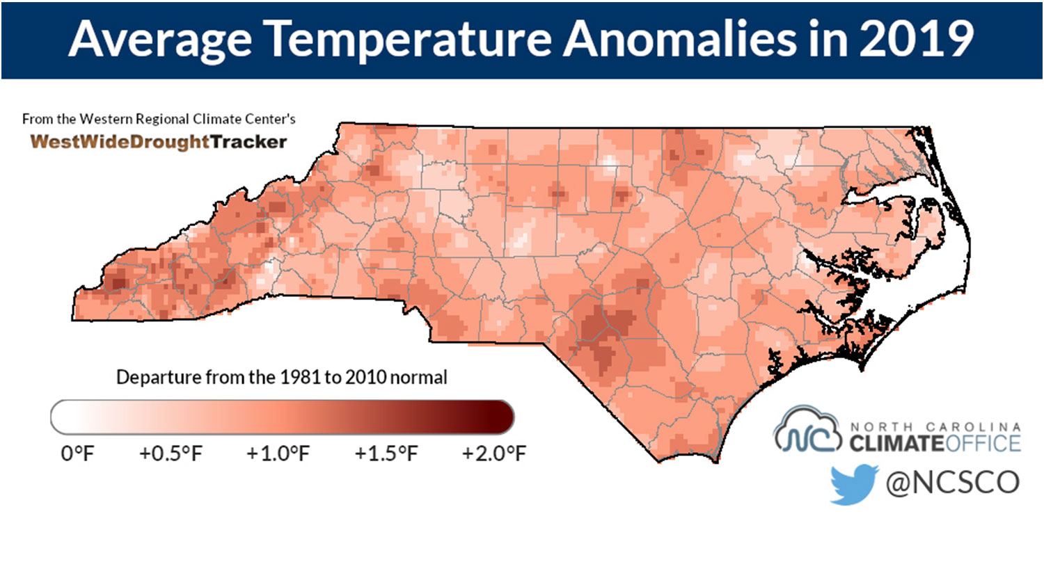map illustration showing average temperatures in North Carolina in 2019