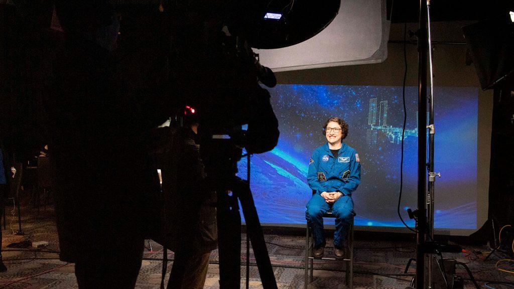 Astronaut Christina Koch gives a press conference