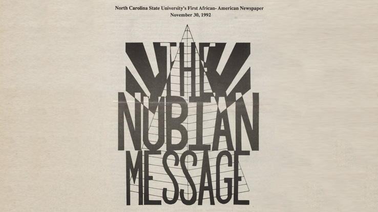 The cover of the first issue of NCState's Nubian Message.