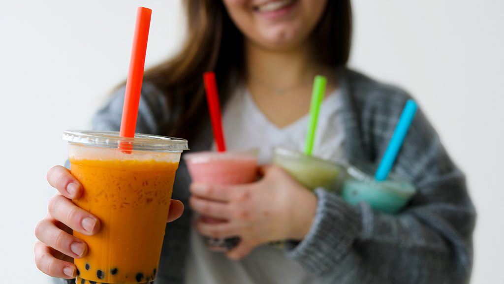 Bubble tea is available at Common Grounds and Smoothie U.