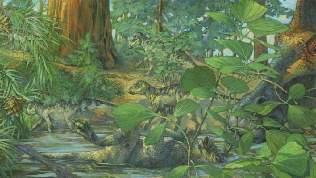 duck-billed dinosaur in prehistoric woodland