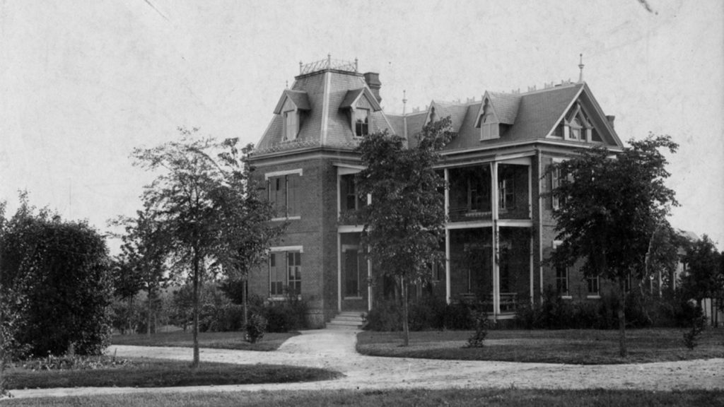 Historic black and white photo of Winston Hall.