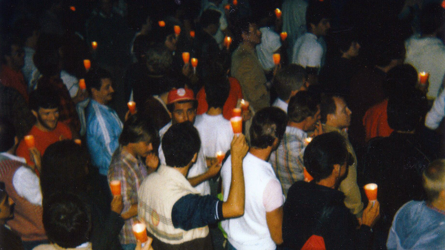 More than 5,000 people march outside the Federal Building in Los Angeles in May 1983 to draw attention to the emerging AIDS crisis.