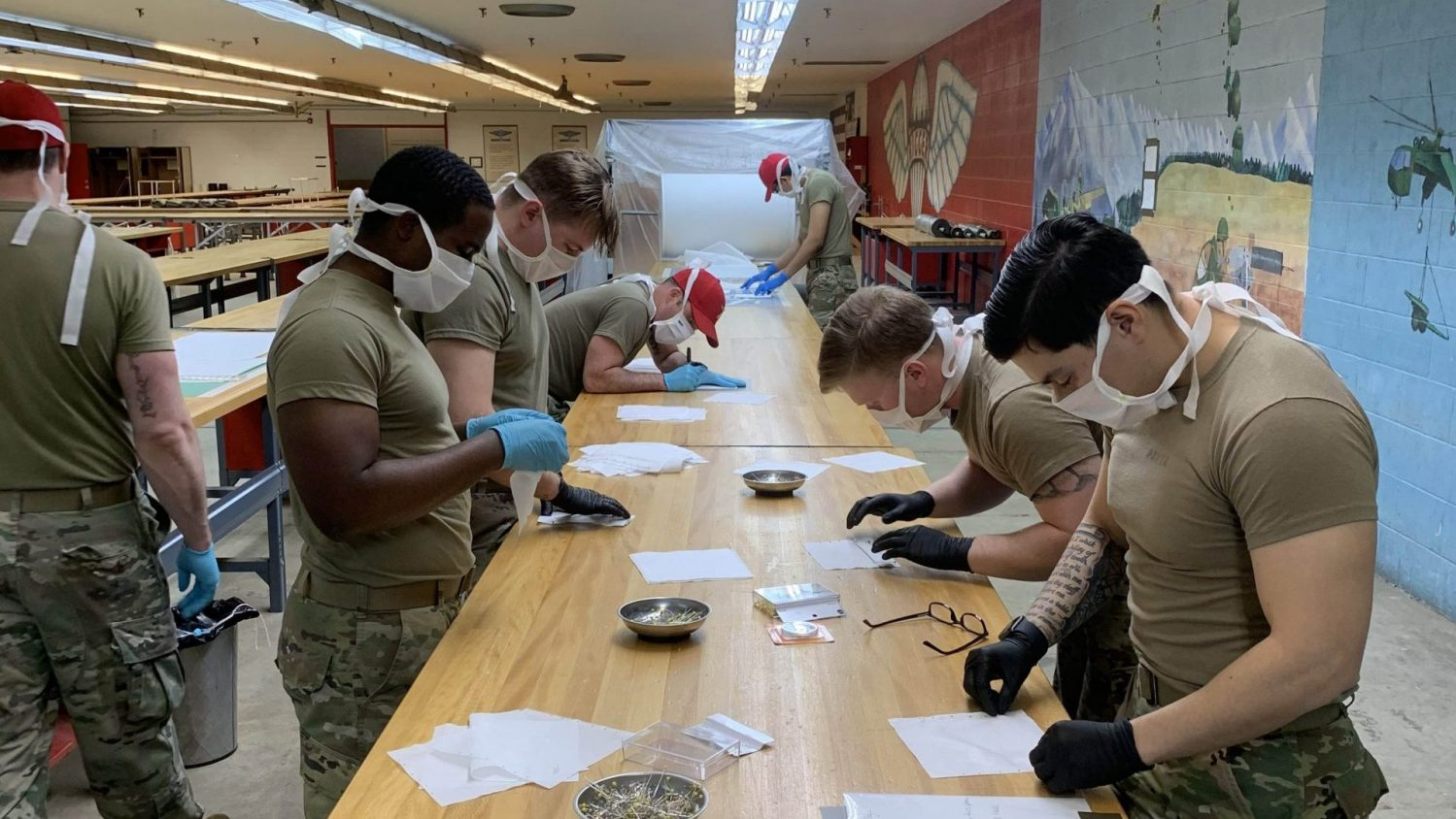 Soldiers create face masks at Fort Bragg