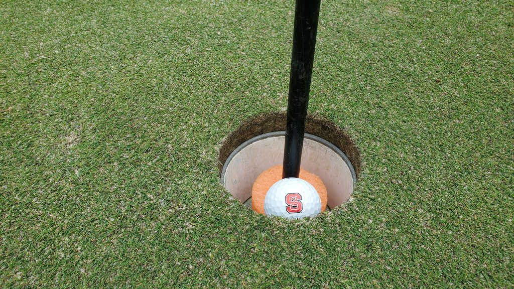 Golf ball inside a hole on the Lonnie Poole Golf Course.