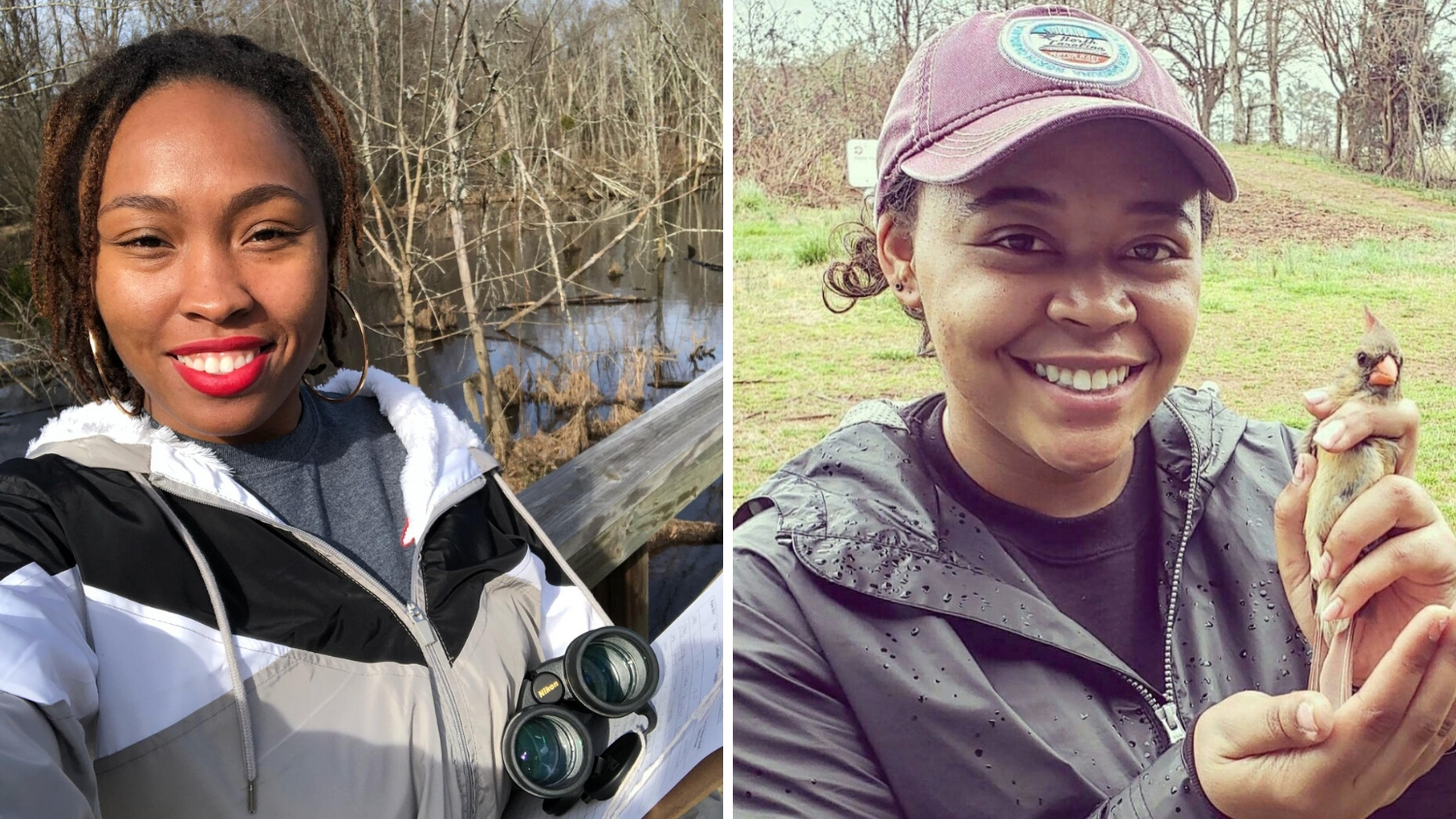 Deja Perkins and Lauren Pharr pictured while birding