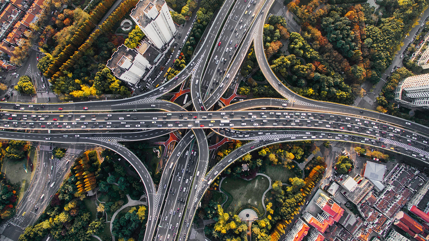 aerial photo of a complex highway traffic interchange