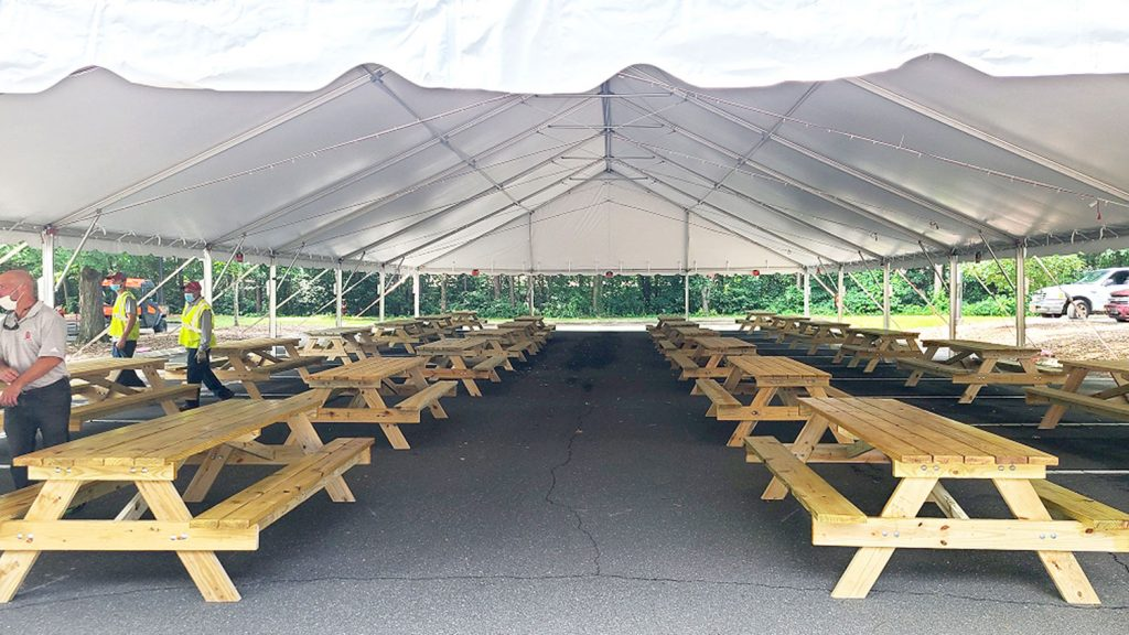 tent with tables underneath