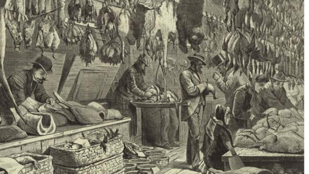 'The Christmas Season,' 1878, an engraving by Arthur Burdett Frost of a wild game stand at New York City's Fulton Market showing a bear, deer and many types of birds. NYPL