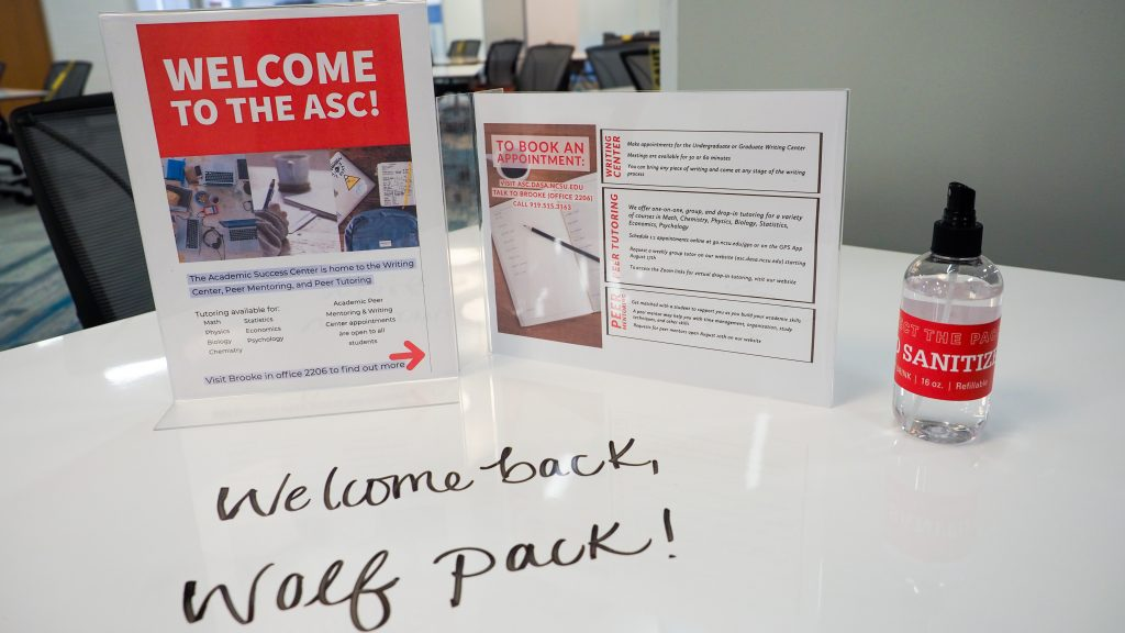 A welcome message greets students at the new Academic Success Center in DH Hill library during the summer 2020 COVID-19 pandemic. Photo by Marc Hall
