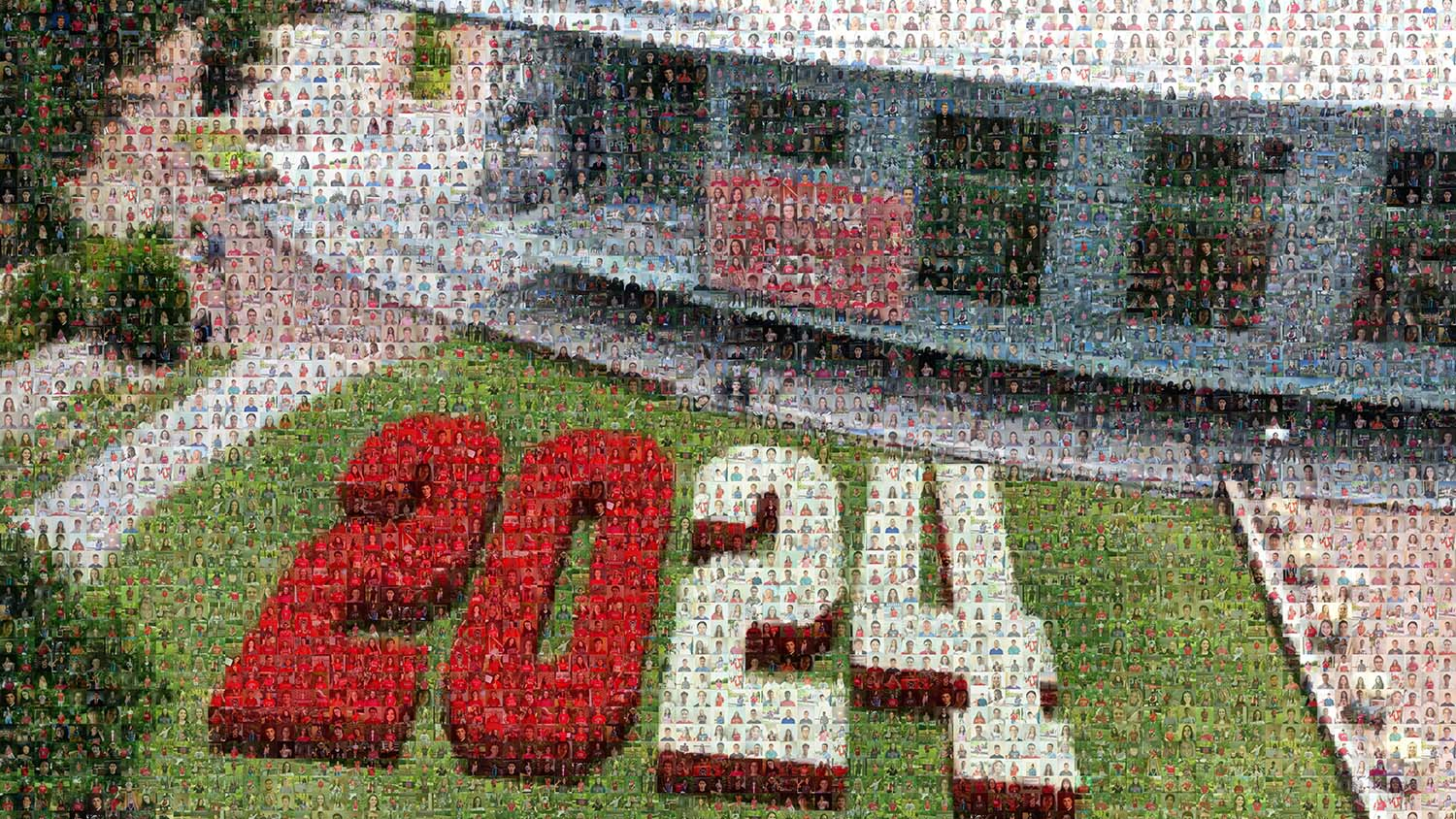 Photos of the members of the class of 2024 make a mosaic of the number 2024 on Stafford Commons in front of Talley Student Union