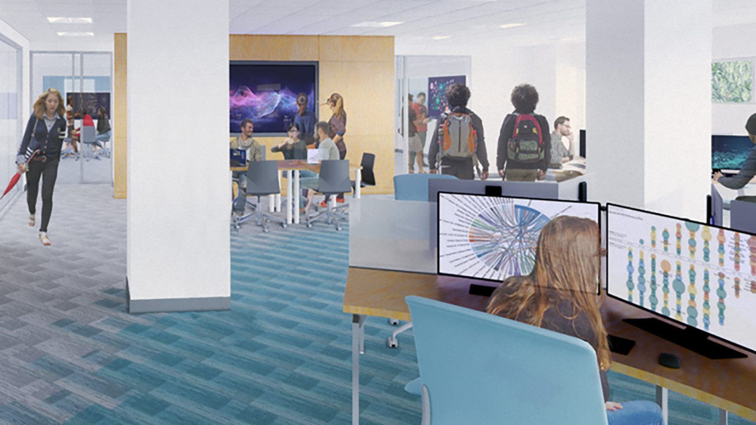 A rendering of the Data Experience Lab shows students collaborating at computers and tables