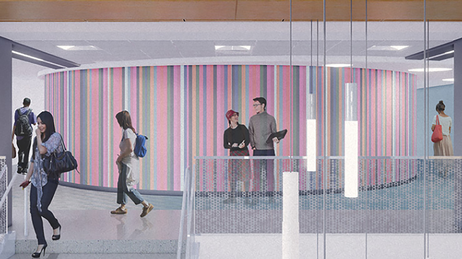A rendering shows students walking past the circular walls of the Visualization Studio