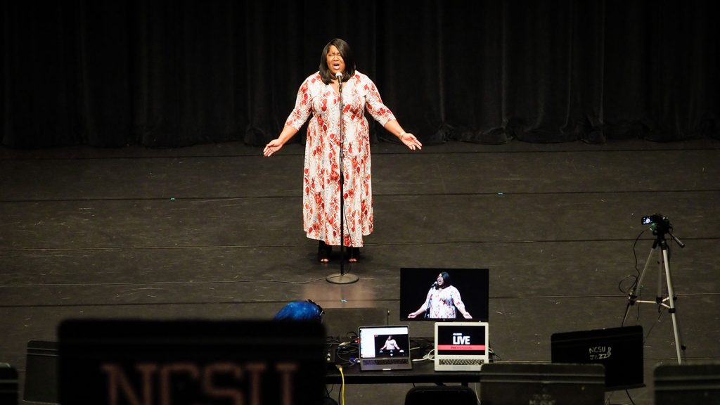 Chernelle Jones sings in Stewart Theatre
