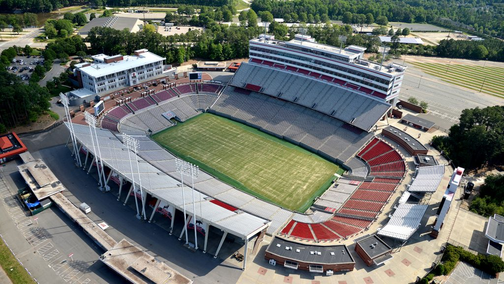 Aerial view of Carter-Finley Stadium.