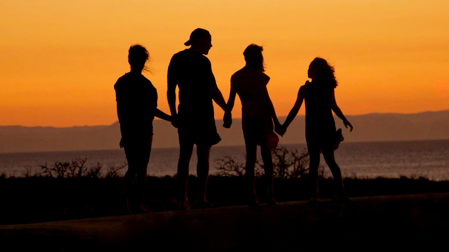 A family holding hands, silhouetted against the setting sun.