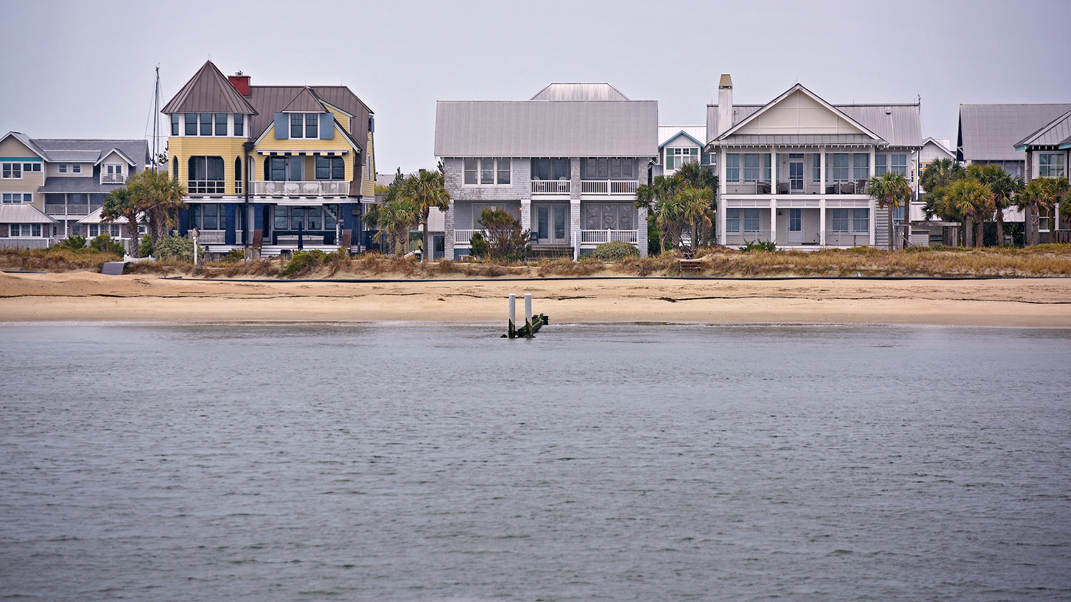 Cottages hug the beach on Bald Head Island.
