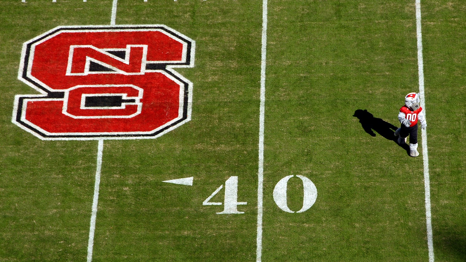 Mr. Wuf struts on the field at Carter-Finley Stadium.
