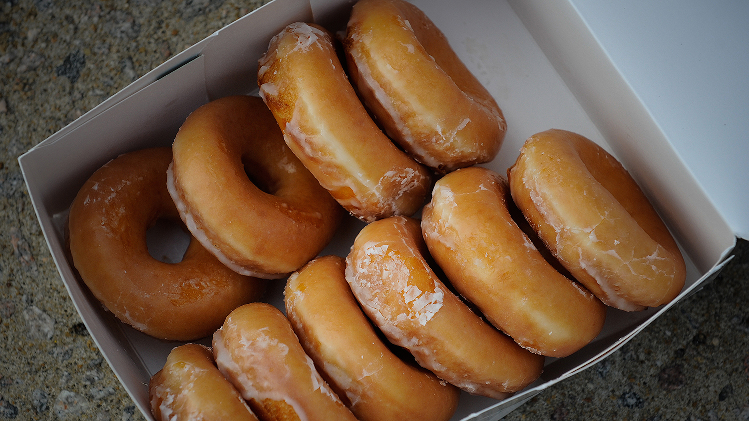 A box of Krispy Kreme doughnuts during the Krispy Kreme Challenge
