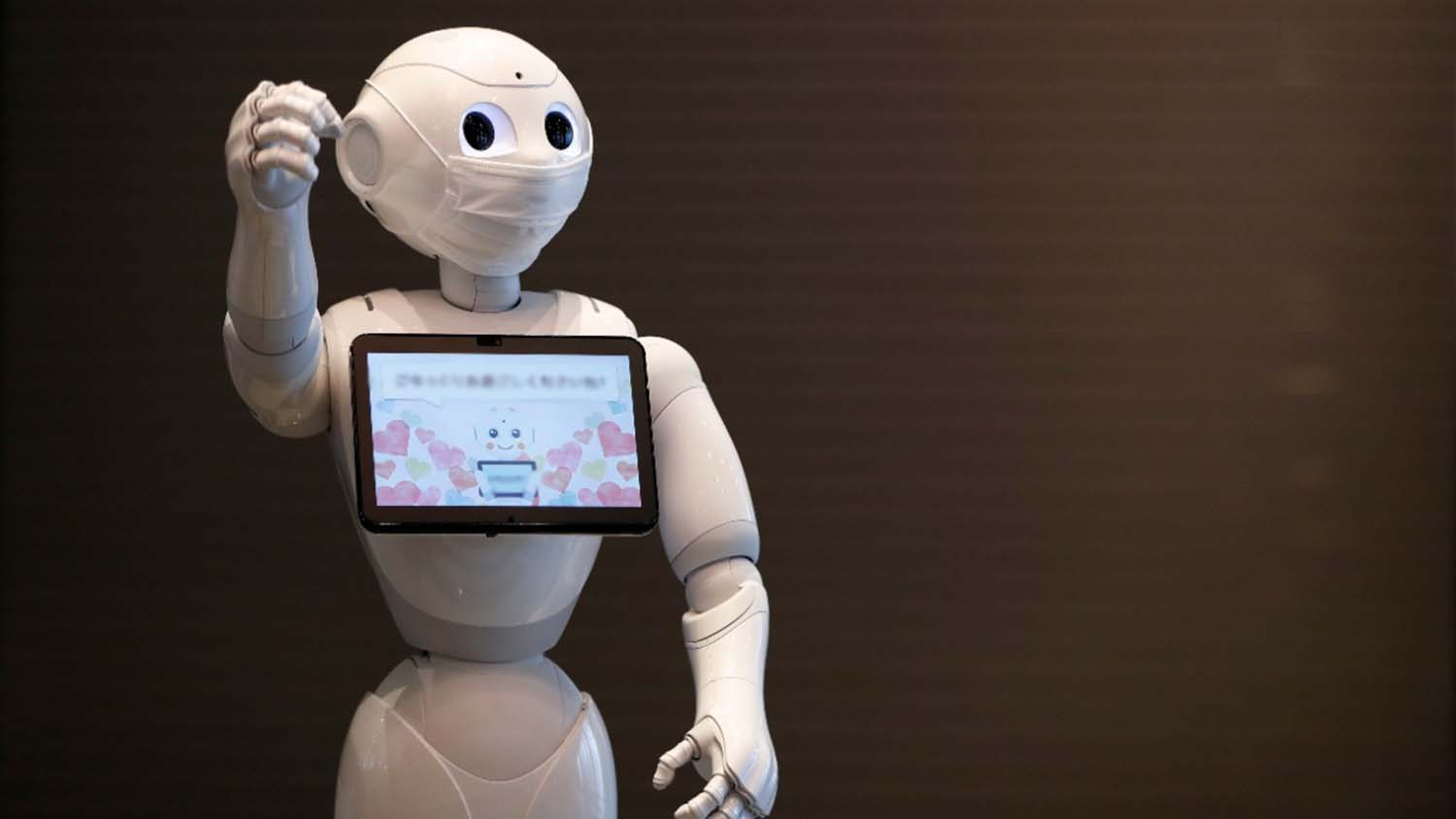 humanoid robot with touchscreen interface