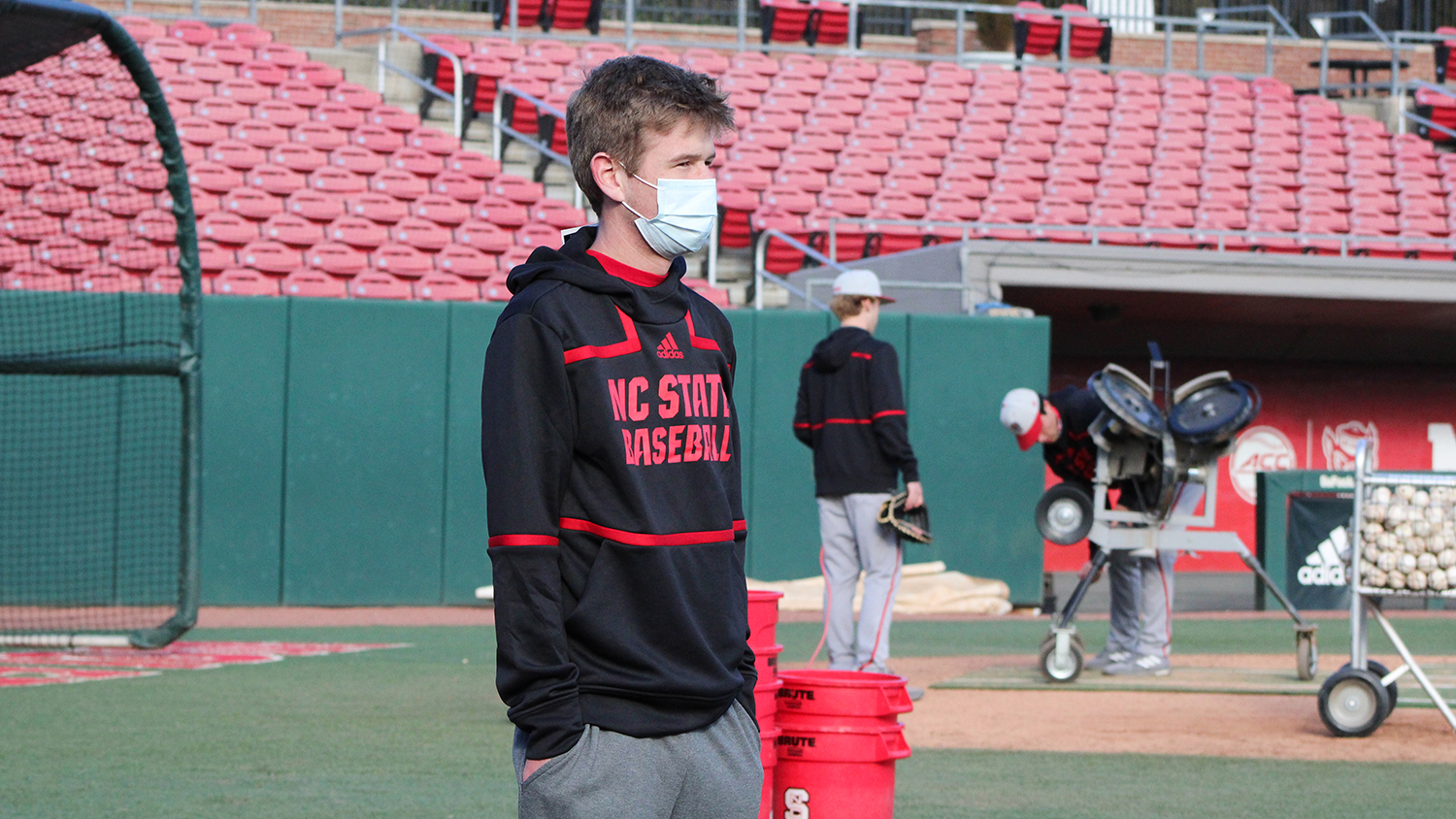 Harrison McKinion on the baseball diamond at NC State.