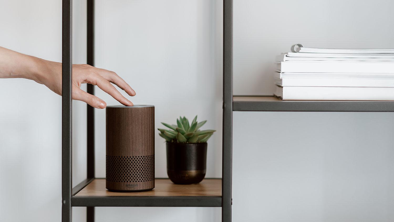 hand touching an Amazon Alexa