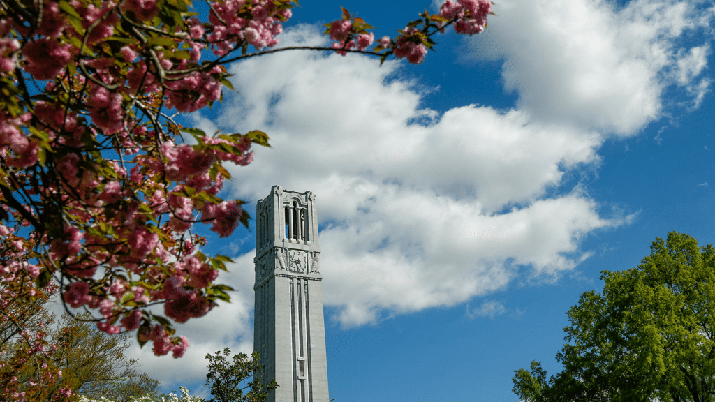 A shot of the Belltower surrounded by blooming flowers in spring.
