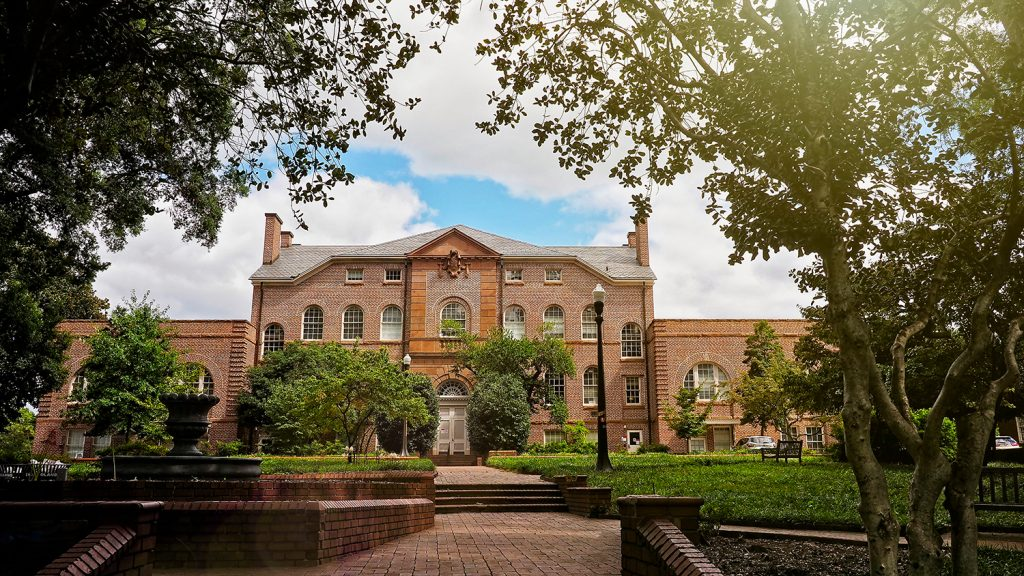 Holladay Hall, a brick building — and NCState's original home.