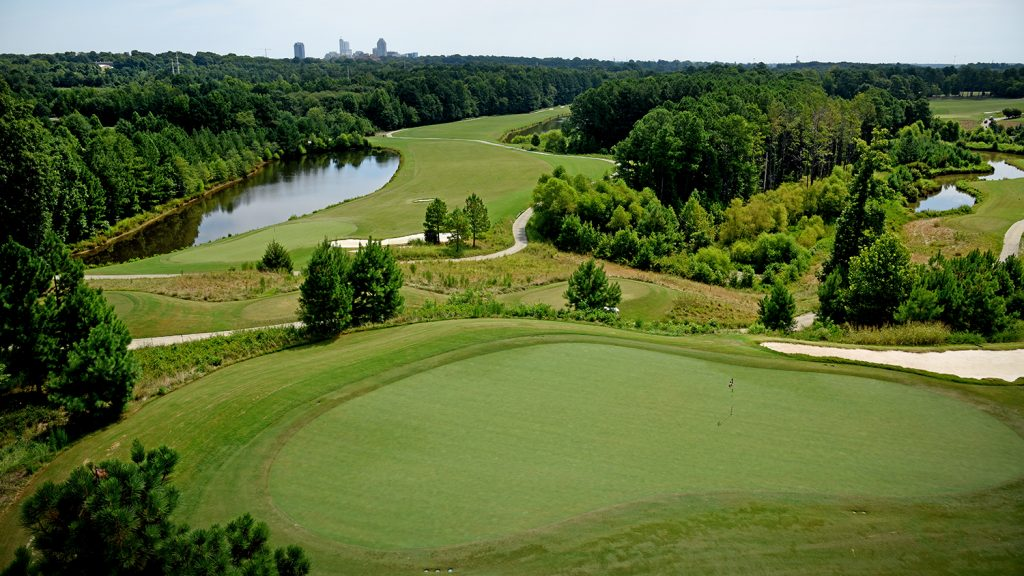 Aerial view of Lonnie Poole Golf Course.